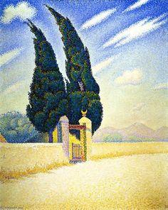Deux cyprès, Mistral, Opus 241, huile sur toile de Paul Signac (1863-1935, France)