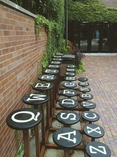 Seats that look like typewriter keys.