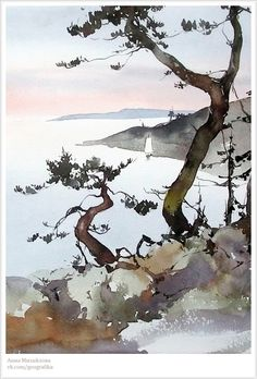 Love the profound simplicity of this. Watercolor Painting Techniques, Watercolor Projects, Watercolor Landscape Paintings, Watercolor Trees, Abstract Watercolor, Watercolor And Ink, Landscape Art, Painting & Drawing, Watercolor Pictures
