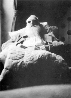 Monet in bed after his cataract operation in 1923.