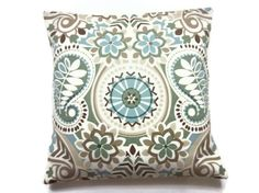 Fabric?  Two Blue Sage Green Taupe Brown Pillow Covers Decorative Throw Toss Accent Paisley Damask 16 inch. $30.00, via Etsy.