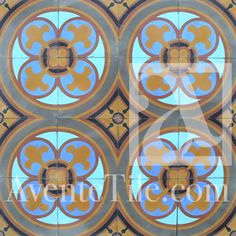 "Imagine how beautiful a bathroom with this cement tile would look! This is Traditional Bruselas Cement Tile 8"" x 8"" Handmade Cement Tile from Avente... Dreamy!"