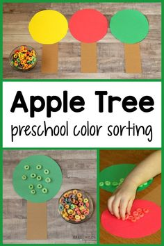 There's so much learning happening in this simple fall preschool activity! It works on color recognition, fine motor skills, real-life connections, and early math! A great preschool autumn activity. Preschool Apple Activities, Preschool Colors, Preschool Math, Autumn Activities, Learning Activities, Activities For Kids, Homemade Slime, Early Math, Kids Songs