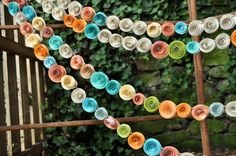 Wedding Garland Paper Flowers Orange Ivory Coral by lillesyster