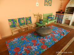 Jeito de Casa: minha casa churrasqueira da piscina  e muita chita pra alegrar o espaço.