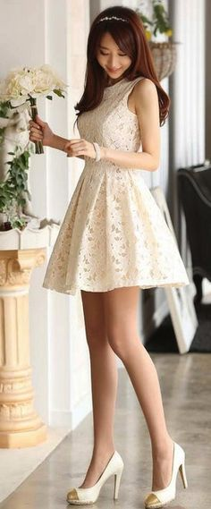 Super Cute Korean Clothing For Women White lace dress
