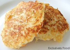 POTATO PANCAKES.   Yum.  I added salt, pepper, and garlic powder to this recipe because when I first made these they were bland.  I also used a bag of Simply Potatoes shredded hash browns to save time.  When it comes to frying these, less oil = faster cooking time and crispier pancakes.
