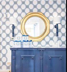 Blue and white Tnwallpaperhanger.com Beautiful Wallpaper, Blue And White, Mirror, Furniture, Home Decor, Homemade Home Decor, Decoration Home, Room Decor, Mirrors