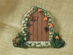 Original hand sculpted Fairy Door Orange Butterfly by ArtisticAdventures