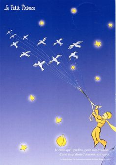 made by: Antoine de Saint-Exupéry , 'Le Petit Prince' - (Birds with strings) Great Books, My Books, Prince Birthday, Book Writer, The Little Prince, Dancing In The Rain, Film Music Books, Night Time, Book Worms