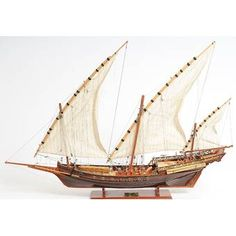 Mediterranean Xebec, Three Masted Wooden Model Boat with Lateen Sails, Long. Individually built, completely assembled, handcrafted model of the Mediterranean Xebec. Wooden Model Boats, Wooden Boats, Poop Deck, Remo, Wooden Ship, Nautical Home, Tall Ships, Boat Building, Model Ships