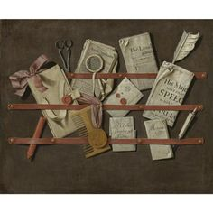 Edwaert Collier Trompe l'Oeil still life of a letter rack holding newspapers, letters, a comb, scissors, wax, a letter opener, a magnifying glass and other objects. photo Sotheby's