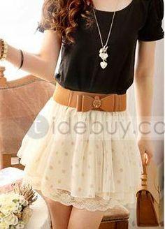 Modern Polka Dots Mesh Chiffon Skirt With Belt