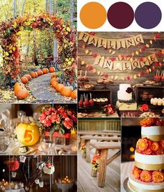 Hot Fall Wedding Color Combinations 2014: Burgundy, Orange and Purple