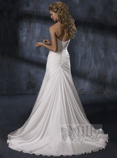 Pleating Sweep Train Strappless Column Taffeta White Sexy Wedding Dresses WDS127