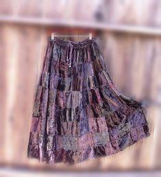 Gypsy Patchwork Skirt/ Vintage Bohemian crushed Velvet by KheGreen