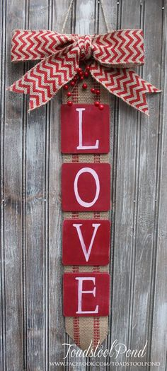 Rustic LOVE Valentines Wall Hanging Burlap Chevron Wreath Alternative Long,  Wide, Features Rustic Webbing Background, Burlap Bow And Red Berry  Embellishment ...
