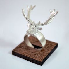 Solid sterling silver Elk Ring, $150 by A Skulk of Foxes. The ring is adjustable and is finished with a matte surface. The ring measures approx 28mm from nose to end of antlers.