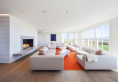 Large Custom Family Residence with Modern Interior Design: Great White Sofa Orange Carpet Wooden Floor Design ~ biawow.com Bathroom Inspiration
