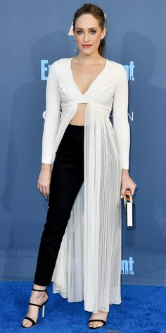 Carly Chakin in Thakoon, Sophia Webster shoes, wearing Tasaki and Yossi Harari jewels, and carrying a clutch by Naeem Khan