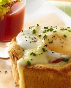 Start your weekend morning off right with Eggs Benedict Biscuit Cups with Bloody Mary Shooters!