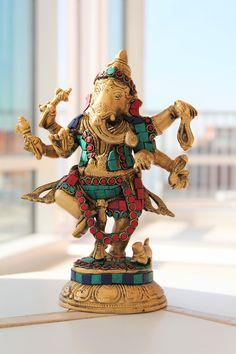 Dancing Ganesha - Ganesha Statue - Brass Statue with inlay - Nritya Ganesha Brass statue by LaveroArt on Etsy