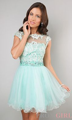 Prom Dresses, Celebrity Dresses, Sexy Evening Gowns - PromGirl: Short Cap Sleeve Lace Embellished Dress