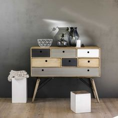 Solid mango wood vintage chest of drawers W 120cm