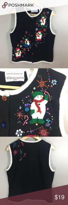 """Marisa Christina Christmas Xmas holiday Vest M Marisa Christina Christmas Xmas holiday Vest M. From """"The Christmas Collection 2003"""". Size M. Intricate bead work. Some of the embellishments are very small bells that jingle! Marisa Christina Sweaters Cardigans"""