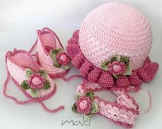 PEARL baby set crochet pattern  hat with sandals. by MakiCrochet
