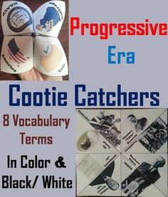 """These cootie catchers/ fortune tellers are a great way for students to have fun while learning about the Progressive Era in the United States. How to Play and Assembly Instructions are included.These cootie catchers contain the following vocabulary terms: 19th Amendment, Theodore """"Teddy"""" Roosevelt, William Howard Taft, Woodrow Wilson, NAWSA, Prohibition, Ida Tarbell, MuckrakerThese cootie catchers come in color and black & white, and also come with a vers..."""