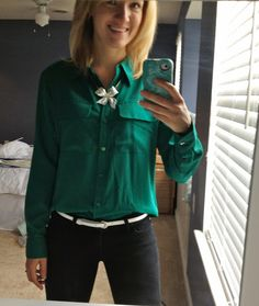 Emerald Shirt & Black Pants & Silver Accessories
