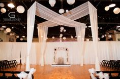 Unusual design with canopy drape so high above the backdrop drapery - Ceremony draping #wedding #draping Haley G Photography