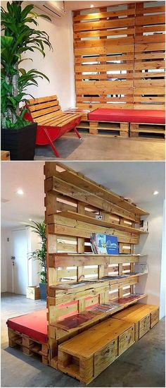Another wonderful pallet creation in the form of this pallet space divider and bench and shelves is brought out for you. It is basically a multipurpose pallet project that is comprised of shelves for the placement of various useful items, have large board structure used as a space divider and a completely comfortable benches attached to it.