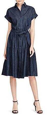 744e7e8370 Lauren Ralph Lauren Denim Midi Shirtdress