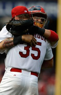 Yadi and Westbrook celebrate the 10-0 complete game shutout against the Reds. :)   4-10-13