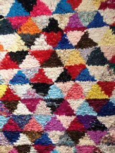 FREE SHIPPING -Vintage Moroccan Boucherouite Rug Moroccan, Textiles, Quilts, Free Shipping, Blanket, Patterns, Rugs, Crochet, Vintage