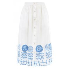 Temperley London Gilda Skirt (1.725 RON) ❤ liked on Polyvore featuring skirts, midi, high-waisted skirts, white full skirt, full skirt, full midi skirt and white midi skirt