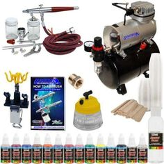 Paasche VL SET Airbrush System Air Compressor 12 Color Paint Kit Cleaner Hobby