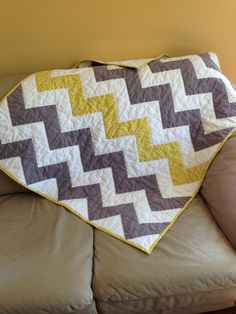 Grey and White Chevron Baby Quilt w/just a hint of by Ennzone