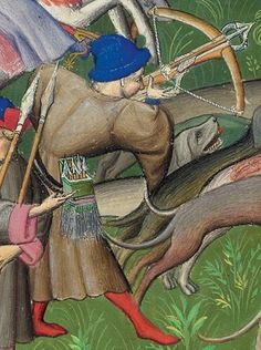 A clearly square bolt case. Not German, French? Livre de la chasse fol 83v, detail.