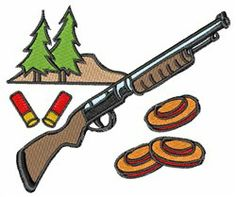 Shotgun Rifle Gun Shoot embroidery design