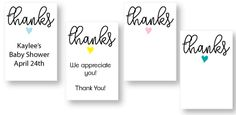 Printable baby shower thank you tags - or favor tags for any event - birthday, thank you gifts, bridal shower favors - customize with your own wording!