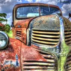 A rusty Dodge truck on the back roads near Briggs, Texas.