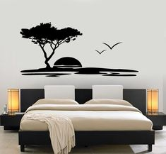 Wall Vinyl Decal Nature Jungle Sun Clouds Birds Sunset Amazing Art Decor - Home cheap and cheerful - Bedroom Wall Designs, Wall Decals For Bedroom, Wall Art Designs, Paint Designs, Vinyl Wall Decals, Bedroom Decor, Wall Painting For Bedroom, Sticker Mural, Vinyl Decor