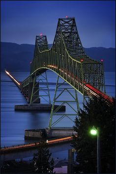Astoria, Oregon Megler Bridge  !! Beautiful!! The road that is flat against the water is 2.3 miles long. doesn't look that long when you are on top of the bridge.