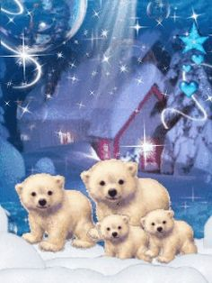 GIF Blue Christmas - Animated wallpaper, screensaver for cellphone Merry Christmas Gif, Christmas Scenes, Christmas Animals, Christmas Pictures, Christmas Art, Christmas Greetings, Vintage Christmas, Christmas Service, Animated Polar Bear