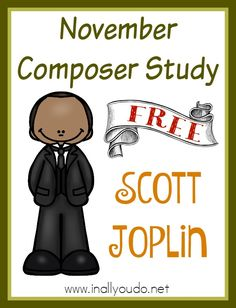 "Scott Joplin is known as the ""King of Ragtime"". Learn all about him, his music and why it is so popular in this FREE November Composer Study. Piano Lessons, Lessons For Kids, Music Lessons, Music Games, Music Activities, Teaching Orchestra, Piano Teaching, Music Worksheets, Homeschool Worksheets"
