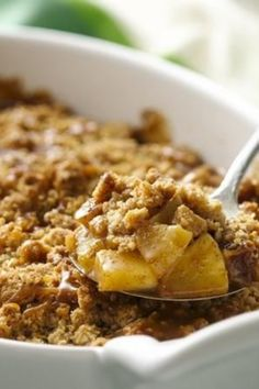 Cookie mix and caramel topping make this ooey gooey caramel apple crisp super quick to make.
