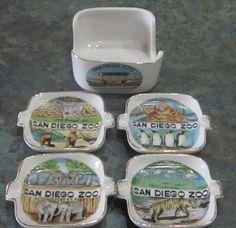 Vintage San Diego Zoo Ashtray Set 1960's by LeftoverStuff on Etsy, $39.00
